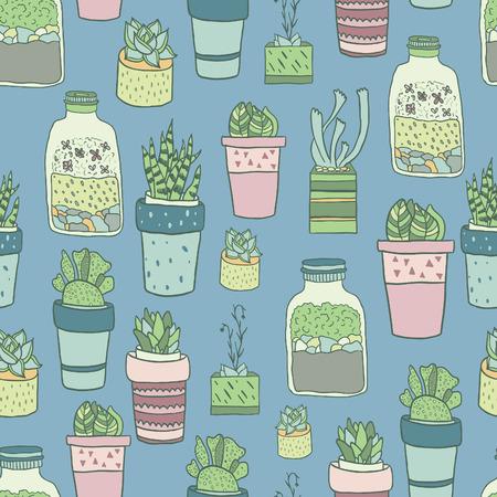 Foto de Cute hand drawn terrariums, houseplants and succulents in pots. Seamless vector pattern. - Imagen libre de derechos