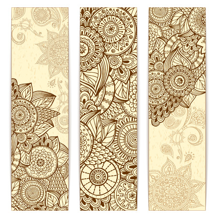 Abstract vector hand drawn ethnic grunge pattern card set. Series of image Template frame design for card.のイラスト素材
