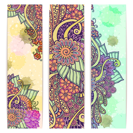 Paisley batik background. Set of three abstract ethnic indian hand drawn vector cards. Series of image Template frame design for card.