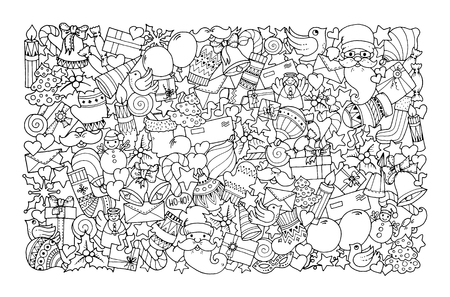 Ilustración de Christmas theme. Doodle background with balloon, bells, sweets, Christmas socks, gift, mittens, envelope, letter, tree, star, candle, bird, snowman, ball, bow, heart and Santa Claus. Ethnic ornaments. - Imagen libre de derechos