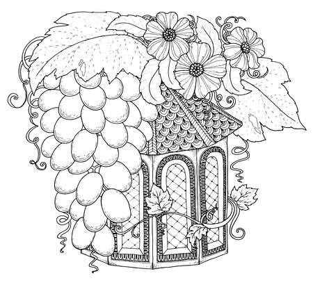Illustration pour Black and white wood nesting box. Hand drawn outline nesting box decorated with floral ornament. Zentangle inspired pattern for coloring book pages for adults and kids, tattoo, poster. Boho style. - image libre de droit