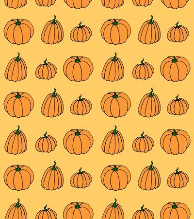 Illustration pour Vector cartoon seamless pattern with pumpkin. Halloween background. - image libre de droit