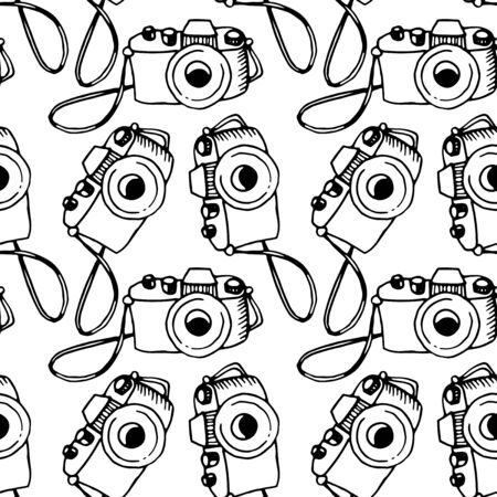 Illustration for Seamless outline pattern with photo camera. Vector illustration for print, wrapping paper, website, blog and design. Backgrounds and textures on the subject of photography and journalism. - Royalty Free Image