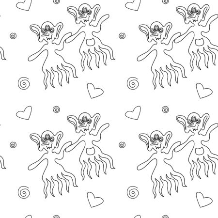 Illustration pour Vector color seamless childish pattern with cute outline monsters aliens, space doodles, lettering. Baby background perfect for fabric, wrapping, wallpaper, textile, apparel, cover, coloring book. - image libre de droit