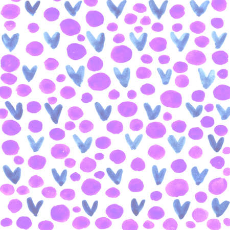 Photo for Abstract background with hearts stains and circles. Brush strokes watercolor, paint spots. Children, sketch, doodle, hand drawn. - Royalty Free Image