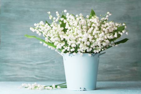 Photo pour Lily of the valley flowers in blue vase on rustic table. Spring aroma bouquet. - image libre de droit
