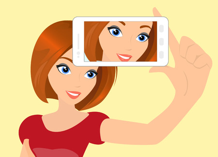 Vector illustration of redhair girl taking a self snapshot. のイラスト素材