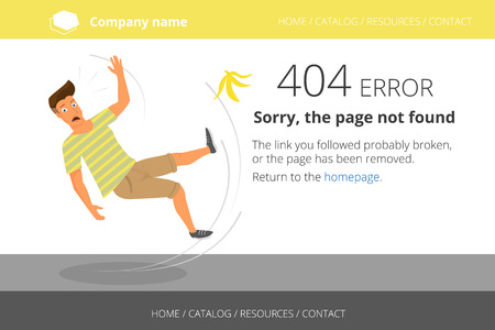 Man slipped on a banana, Page not found Error 404