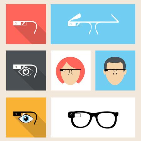 Google glasses square seven icons in flat design.