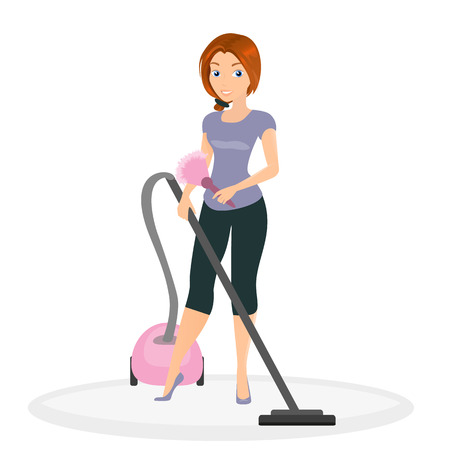 Woman is doing housework with vacuum cleaner.