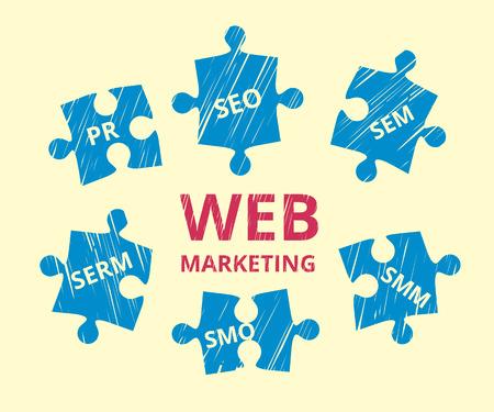 illustration of web marketing us puzzles
