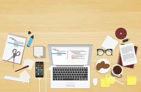 Realistic workplace organization. Top view with textured table, laptop, connected smartphone, notepad, stickers, glasses, cd disk, diary and coffee mug