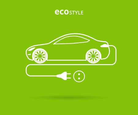 Vector illustration of electro car green icon. Line thickness fully editable
