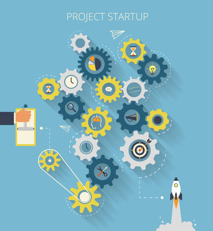 Infographic illustration of project startup process with gearing