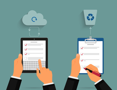 Businessman using tablet pc and notepad with task list. Cloud synchronization concept