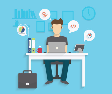 Man is working with laptop. Flat modern illustration of working process