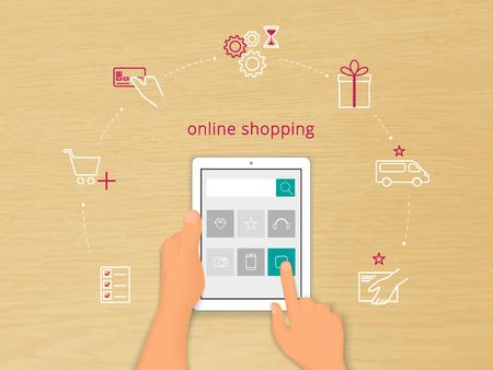 Vector illustration of online shopping with realistic human hand holding white talet pc and contour icons