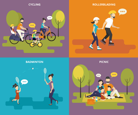 Illustration for Family with children kids people concept flat icons set of cycling, rollerblading, play badminton and picnic - Royalty Free Image