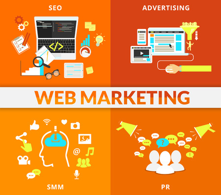 Infographic flat conceptual process illustration of web marketing