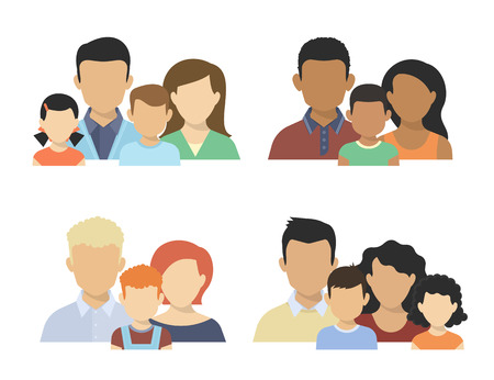 Foto de Flat four various couples  with children isolated on white - Imagen libre de derechos
