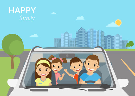 Happy family with children travelling by car