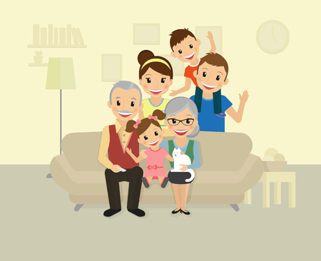 Foto per Happy family. Smiling dad, mom, grandparents and two kids sitting at home - Immagine Royalty Free
