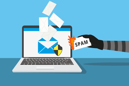 Illustration pour Email protection from spam. Human hand holds burning spam letter - image libre de droit