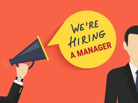 Illustration pour Hand holding megaphone with bubble speech hiring a manager - image libre de droit