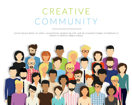 Illustration pour Group of creative people isolated on white. Flat modern design. Text outlined - image libre de droit
