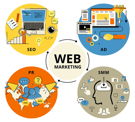 Infographic flat conceptual process illustration of web marketing. Flat contour modern style