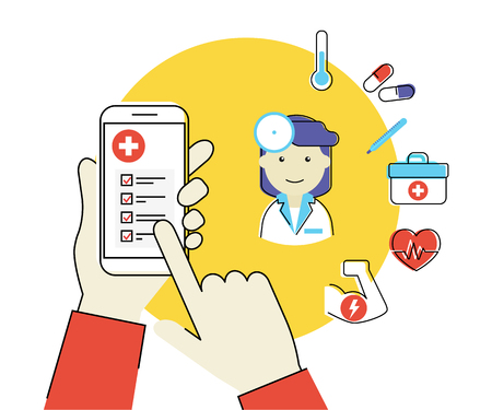 Flat contour illustration of human hand holds white smartphone with medical mobile app and female doctor with healcare related icons