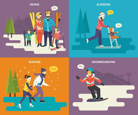 Family with kids concept flat icons set of winter sport such as skiing, ice skating, sledding and snowboarding