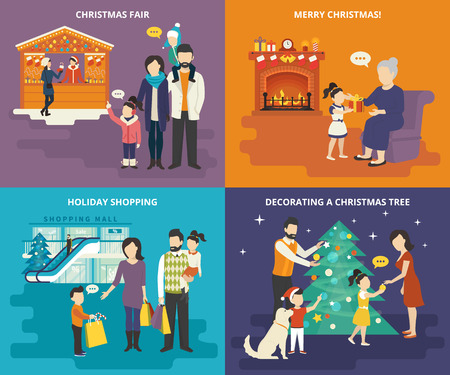 Family with kids people concept flat icons set of visiting christmas fair, holiday shopping with children, decorating a christmas tree with parents and giving a gift to lovely grandmother at home