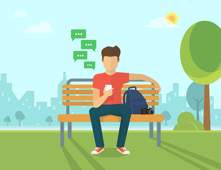 Illustration for Young man sitting in the street and sending a message via chat to someone using his smartphone - Royalty Free Image