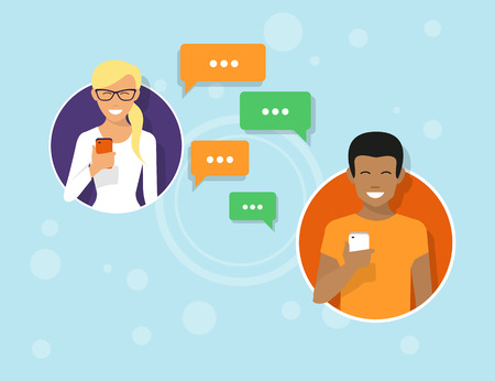 Illustration pour Two friends in the circle icons are sending messages via messenger app. Flat illustration of people communication with sms bubbles - image libre de droit