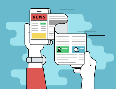 Online reading news. Flat line contour illustration concept of online reading news using smartphone app. Human hand holds smartphone and reading daily newspaper