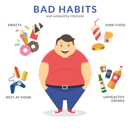 Illustration for Happy fat man with unhealthy lifestyle symbols around him such as junk food, sweets, video game and unhealthy drinks. Flat concept illustration of bad habits isolated on white - Royalty Free Image