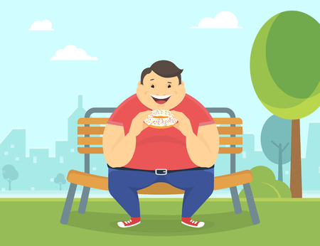 Illustration for Happy fat man eating a big sweet donut sitting in the park on the bench. Flat concept illustration of bad habits - Royalty Free Image