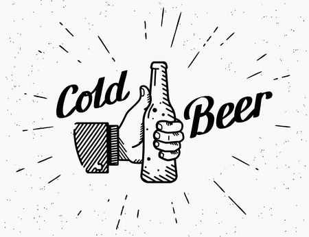 Thumbs up symbol icon with cold beer bottle. Retro fashioned illustration of human hand holds beer bottle with handwritten lettering text on grunge textured background