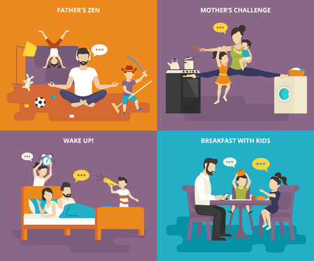 Family with children people concept flat icons set of fathers zen, mom with kids between the stove and washing machine, wake up with children and fun breakfast