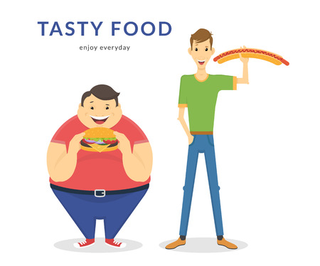 Illustration for Happy fat and thin men eating a big hamburger and hot dog. Flat concept illustration of junk food isolated on white background - Royalty Free Image