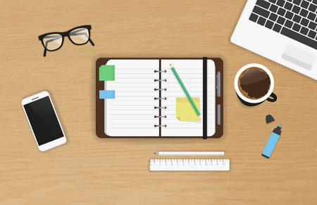 Illustration pour Realistic work desk organization with open diary and stickers for notes on the wooden textured table. Top view with cup of coffee, laptop, smartphone and pencil to write note and remarks - image libre de droit