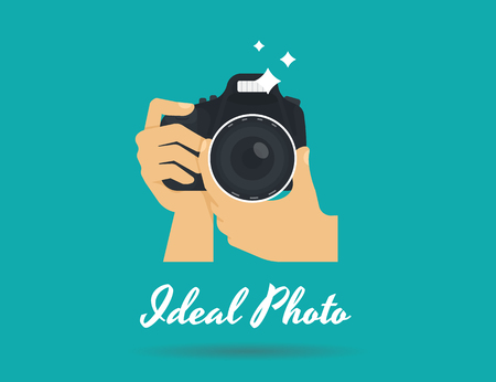 Illustration for Photographer hands with camera icon or template. Flat illustration of lens camera shooting macro image with flash and text ideal photo - Royalty Free Image