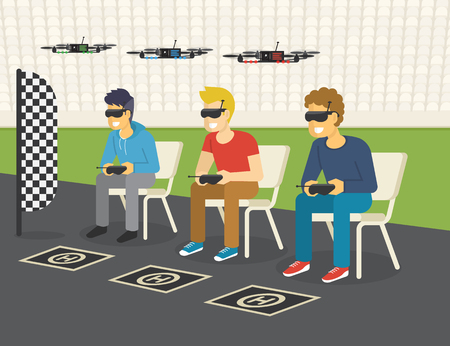 Illustration pour Quadrocopter racing competition new sport. Flat illustration of three guys wearing glasses to control drones via remote console - image libre de droit