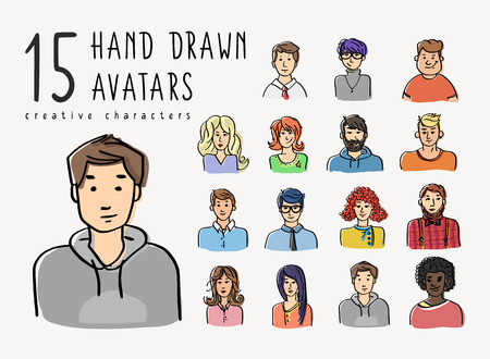 Illustrazione per Hand drawn avatars set of different characters. Business people and teenagers portrate illustration for creative community or social networks - Immagini Royalty Free