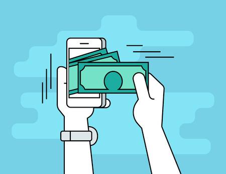 Illustration pour Mobile banking. Flat line contour illustration of human hand  withdraws cash from his smartphone - image libre de droit