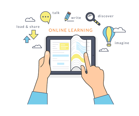 Illustration pour Human hand holds a tablet pc and reading ebook on the screen. Flat line contour illustration of online reading book and learning with symbol such as talk and share, read and imagine - image libre de droit