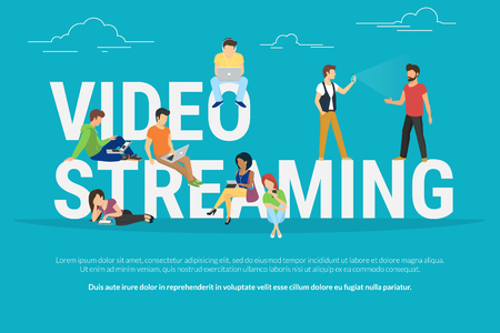 Illustration for Video streaming concept illustration of young various people using laptop, tablet pc and smartphone to watch live video streaming via internet. Flat design of guys and women staying near big letters - Royalty Free Image