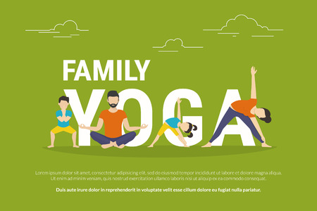 Illustration pour Family yoga concept illustration of people doing yoga exercises and sitting in lotus pose. Flat design of father and mother with children doing yoga pose near letters isolated on green background - image libre de droit
