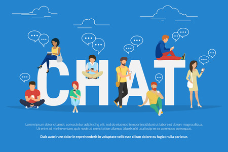 Illustration pour Chat concept illustration of young various people using mobile gadgets such as tablet pc and smartphone for texting messages each other via internet. Flat guys and women standing near big letters chat - image libre de droit